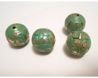 Jewelry. Large Brass Beads High quality hand patina beads for Necklace Brass Beads Jewelry Findings brass beads vintage patina metal beads