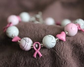 Pink Ribbon, White and Pink Beads with Hearts Bracelet