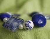 Flower blue and white Grecian meets Asian inspired style Bracelet