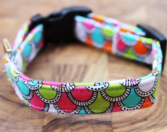 SALE Multi Colored Wave Adjustable Dog Collar