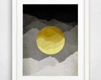 Mid Century Modern Art Print, Yellow and Gray Abstract Wall Art, Mountains Art, Minimalist Poster, Giclee Print, Abstract Landscape