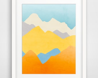 Colorful Wall Art Mountain Print Mountain Nursery Abstract Nursery Art Colourful Nursery Modern Nursery Decor Abstract Landscape Painting