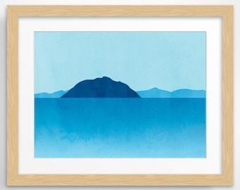 Ocean Large Wall Art, Beach Decor, Seascape Minimalist Poster, Large Print, Blue