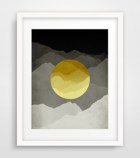 Mid Century Modern Wall Art Mountain Art Abstract Wall Art Print Minimalist Art Scandinavian Art Mountain Print Nordic Grey and Yellow