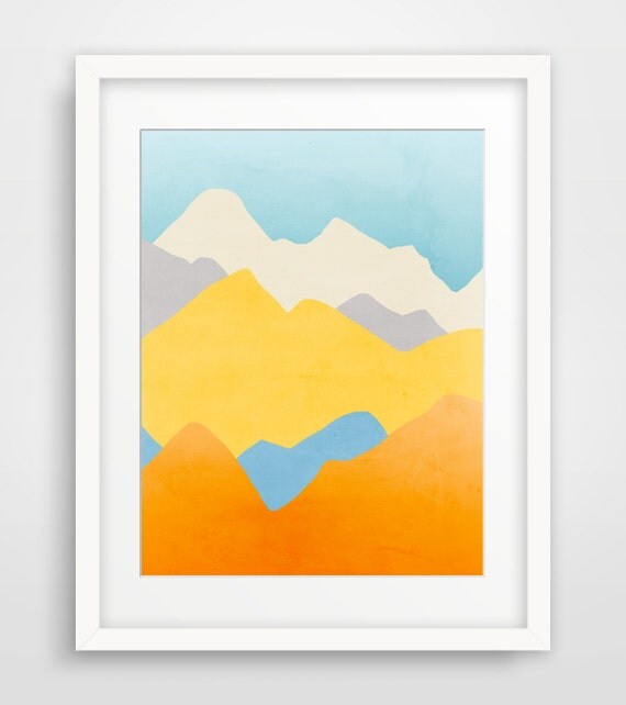 Mountains Art Print, Abstract Landscape, Minimalist Poster, Colorful Wall Art
