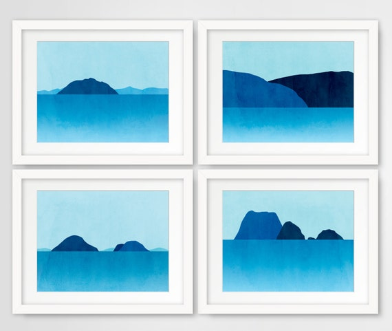 Set of 4 Beach Decor Art Prints, Blue Seascape Wall Art, Minimalist Posters, Abstract Ocean Landscape