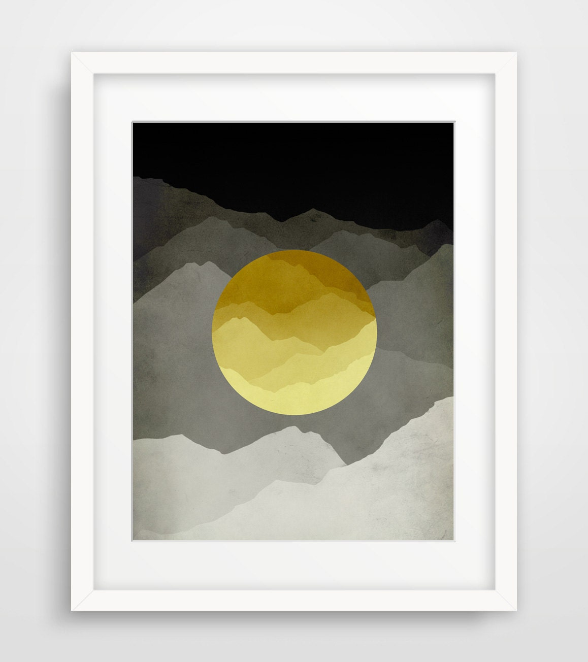 Mid Century Modern Wall Art Mountain Art Abstract Wall Art
