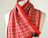 Fair Isle Merino Shortie Scarf - Traditional Norwegian style pattern - Snood in Lust Red and Cream