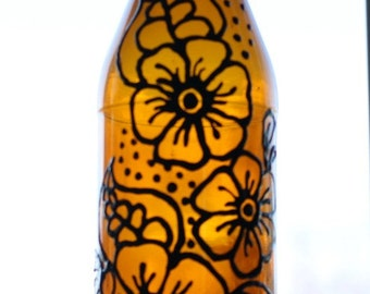 Henna Painted Glass Bottle