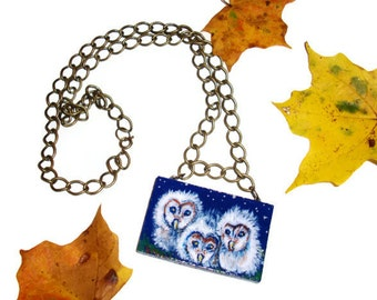 Three fuzzy white owlettes, Hand painted pendant with chunky chain