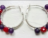 Red and Purple Wire Wrapped Hoops