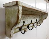 French country wall shelf, primitive wall shelf, primitive coat rack, rustic hall tree, Shabby style coat rack, antique style hat rack