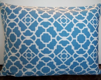 Blue and white lumbar pillow cover