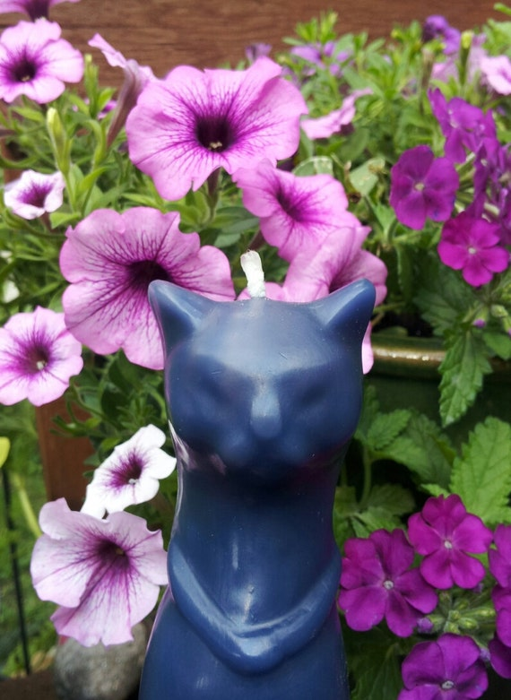 SALE Tall Purple Cat Candle