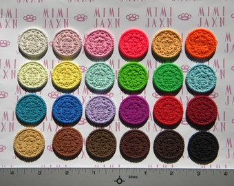 6 CUSTOMIZABLE Polymer Clay Oreo Cookie Miniatures with White Filling - 24 Color Options