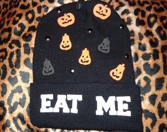 EAT ME Pumpkin Black Beanie Hat