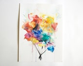 9x12  Bright Watercolor Color Flower Painting, Colorful Flower Blooms Illustration, Pretty Flower Art