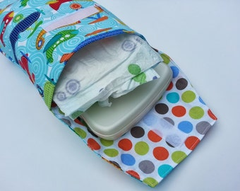 Diaper Clutch for Diapers and Wipes - Airplanes and Boy Dots