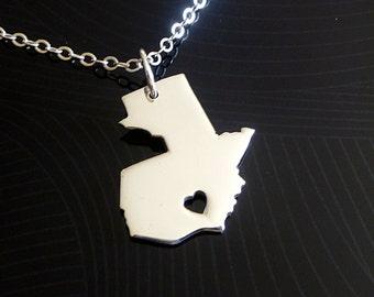 Guatemala Necklace - Sterling Silver Necklace - Country Necklace - Country Charm - Map Necklace - I heart Guatemala - I love Guatemala