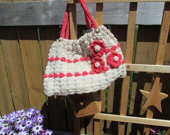 Hand crochet cotton purse