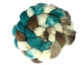 Superwash Merino Roving (Top) Teal Brown White