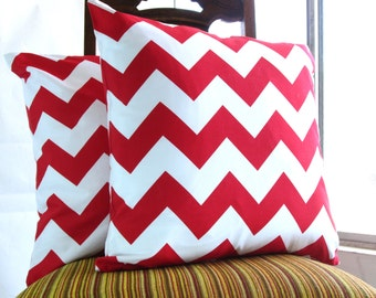 Red pillow throw 18 x 18 modern bold white red crimson scarlet Riley Blake chevron zig zag cotton Handmade Decorative Set of TWO