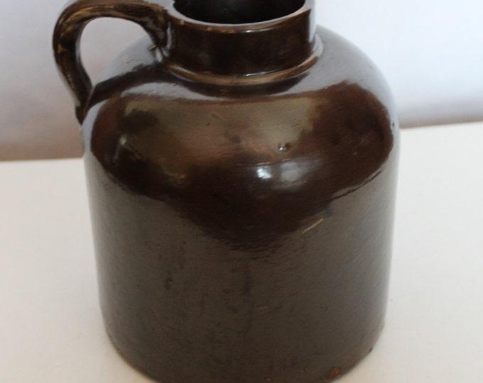 Vintage Brown Slip-Glaze/Salt-Glaze Stoneware Wide Mouth Crock Jug