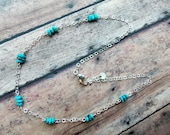 Turquois Necklace, Silver, natural turquois chips 947