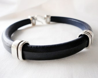 Men Thick leather Cuff Bracelet, Handmade Jewelry,  Spanish Regaliz Licorice, Silver plated