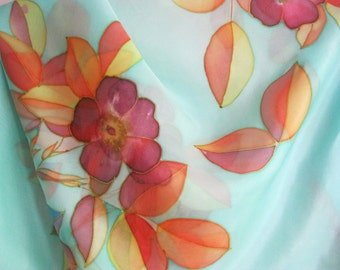Square silk scarf hand painted Valentines gift Women accessories Orange floral turquoise