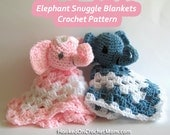 Crochet Pattern Amigurumi Snuggle Blanket with Stuffed Elephant Toy Security Lovey PDF Instant Download for Boy or Girl