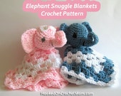 Crochet Pattern Snuggle Lovey Blanket Animal Stuffed Elephant Toy Amigurumi PDF Instant Download for Boy or Girl Or Great Gift for Twins
