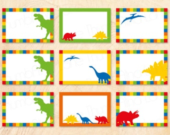 Dinosaur Buffet Cards, Food Tags, Name Tags, DIY, T-Rex, Rawr, Roar