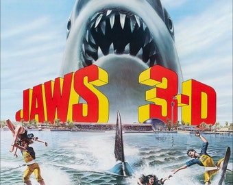 "JAWS ""All New 3D"" Movie Promo Reproduction Counter Top Stand-Up Display - Collectibles Collection Collector Suspense Gift Idea Horror Retro"