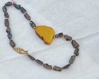 Rustic necklace black pearls statement big baltic amber ram stone beach nature