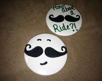 Mustache Pin Back Buttons