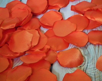 ORANGE satin artificial rose petals, alternative to silk, for wedding, anniversary, or date night, ready to ship