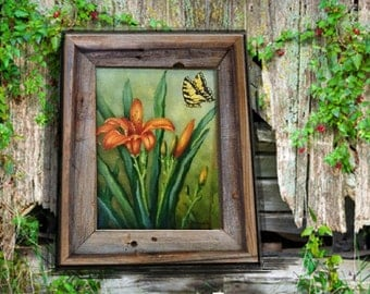Orange Daylily, Original oil painting by Linda Maravich, 9 x 12 frame included, barn art, rustic farmhouse art, country living