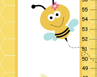 Personalized Bumble Bee Critters Canvas Growth Chart