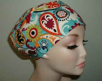 Mod Paisley Teal Turquoise European OR Euro Scrub Hat CORT CRNA