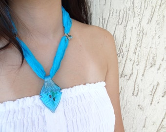 Turquoise blue, leaf motif  Murano glass beads, silk necklace