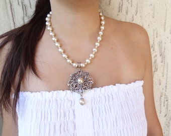 Bridal necklace,  ivory pearl handmade wedding necklace,  wedding jewelry,  bridesmaid gifts
