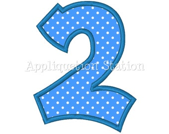 Number TWO Plain 2nd Birthday Applique Machine Embroidery Design blue second INSTANT DOWNLOAD