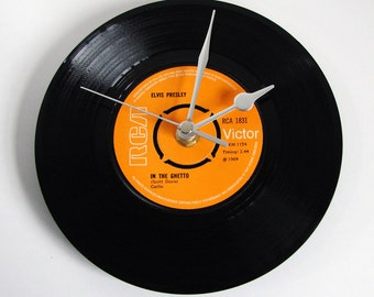 "ELVIS CLOCK Wall clock made from a recycled 7"" single. Choose your favourite Elvis song for unique personal gift for mum dad grandparents"