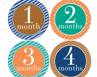 Boy Monthly Baby Stickers, 1 to 12 Months, Monthly Bodysuit Stickers, Baby Age Stickers, Trendy  (052-3)
