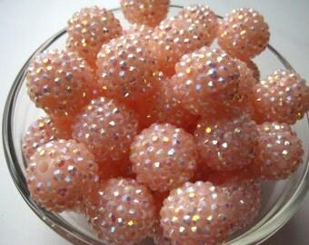 Rhinestone Bead, 10 pcs, 20mm Peach Bumpy Chunky Necklace Bead, Disco Ball Bead, Gumball Beads, Bubblegum Bead, Acrylic Bead
