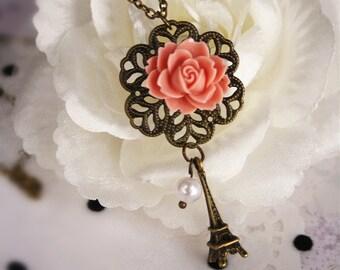 Love Paris flower filigree necklace vintage Eiffel Tower rose charm pendant charm bronze jewellery accessory bridesmaid wedding chic