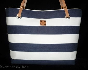 Purses with Stripes, Navy Blue Striped Purse, Bag, Shoulder Bag, Bag with leather handles, Handmade, Canvas Bags