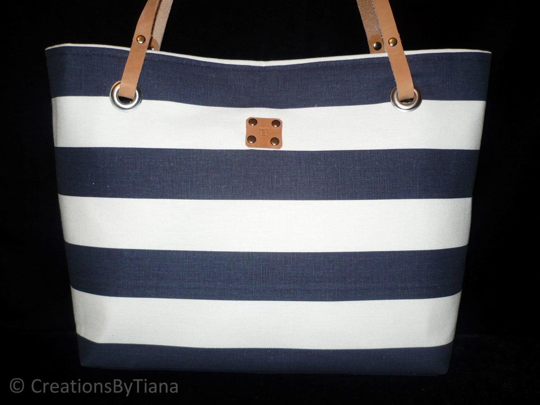Purses with Stripes Navy Blue Striped Purse Bag Shoulder