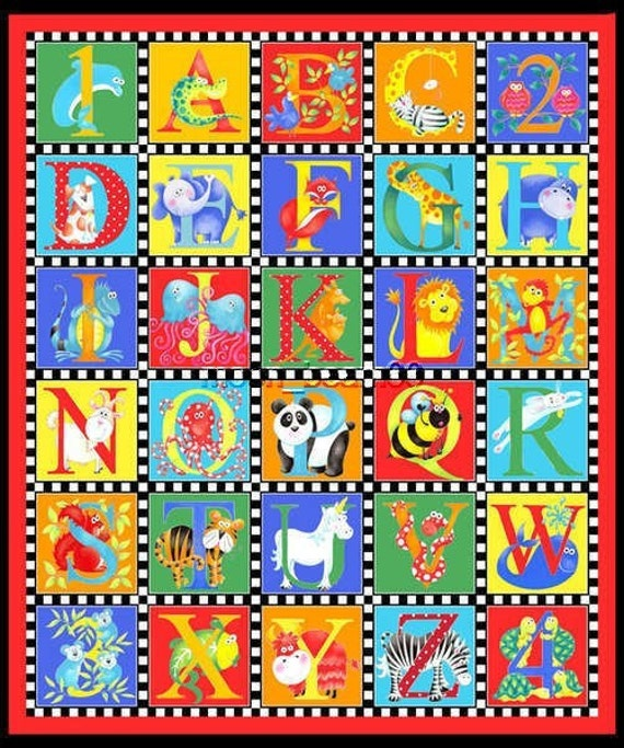 Alphabet Soup Cotton Fabric Color Alphabets Quilt Top